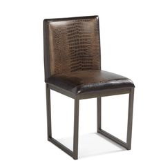 The Porto dining chair set from Sunpan sports a gorgeous distressed faux crocodile leather front panel, with a smooth espresso reverse side. Set atop a sleek metal frame, these stylish chair will add class and interest to your dining room motif.
