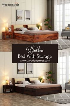 Walken bed with storage is very convenient furniture to invite in the bedroom. Firstly, it is contemporary furniture design. Secondly, the backrest has two drop-down drawers, and each of those has an upholstered panel for more comfort. Thirdly, headboard and drawer storage provide spacious places to store more.