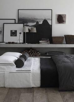 Inspiração decoração quarto cinza e preto - cama