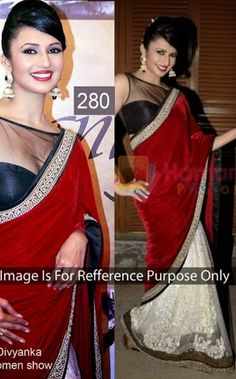 Divyanka Bollywood Collections-Red-SMT280-VR-Georgette