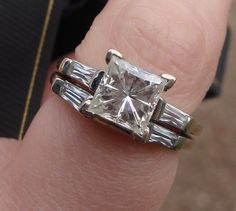 8 mm Moissanite Princess cut and Baguette Wedding Ring Set in 14k White Gold-na