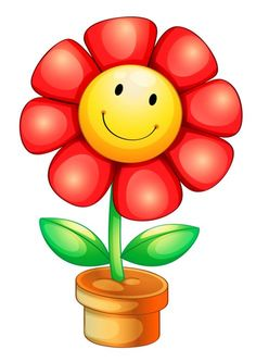 Smileys Vector Images (over - Page 3 Art Drawings For Kids, Easy Drawings, Art For Kids, Crafts For Kids, Cute Clipart, Flower Clipart, Cartoon Flowers, Clip Art, Happy Flowers