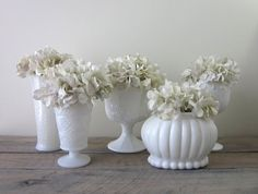 Milk Glass Vases Instant Collection Five Piece Set by 22BayRoad
