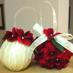 crafting with ribbon | ... ornaments with styrofoam balls, ribbon and silk flowers. Super easy