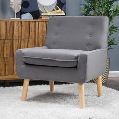 Christopher Knight Home Reese Tufted Fabric Retro Mid-century Style Chair