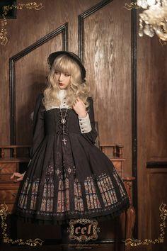 CEL Lolita Studio +The Saint's Prayer+ Lolita OP Dress Kawaii Fashion, Lolita Fashion, Gothic Lolita Dress, Lolita Style, Kawaii Dress, Dress Out, Japanese Street Fashion, Online Dress Shopping, Mannequins