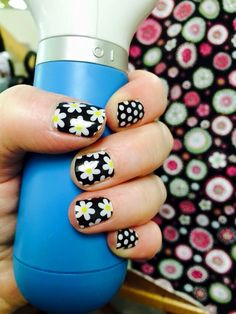 Simply Daisy with Black and White Polka. Love this!! #jamberrynails. www.danadenise.jamberrynails