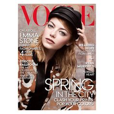 Emma Stone Covers May 2014 Issue of Vogue Magazine ❤ liked on Polyvore featuring magazine, backgrounds, books and magazine cover