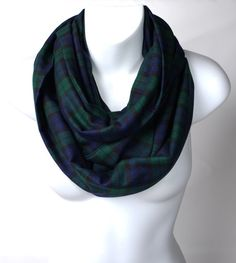 Soft Warm Modern Lindsay Tartan Infinity Scarf Plaid Dark Pink /& Green Gift