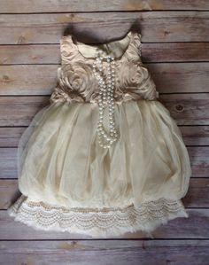 Beige Toddler Girls Dress Vintage Toddler by AvaMadisonBoutique...too too cute