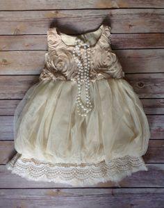 Beige Toddler Girls Dress Vintage Toddler by AvaMadisonBoutique, $39.95
