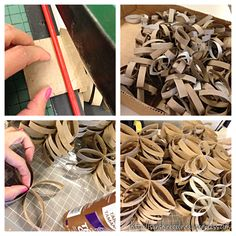 The process of making a wall art, out of toilet paper rolls with a bit of help from Aileen's tacky glue, bobby pins, and a large paper cutting board~