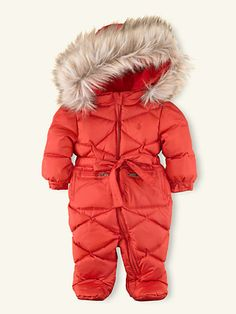 Fur-Trimmed Footed Snowsuit - Sale  Layette Girl (Newborn–9M) - RalphLauren.com