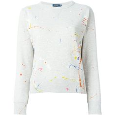 Polo Ralph Lauren Paint Splatter Sweater ($142) ❤ liked on Polyvore featuring tops, sweaters, polo ralph lauren, white sweater, white top and polo ralph lauren sweater