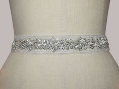 Kirsten Kuehn Designs Hope bridesmaid sash on navy organza. Love!