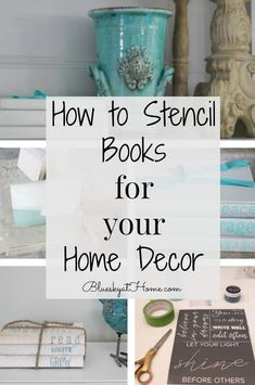 How to Stencil Books for Your Home Decor. Books add style and personality to home decor. Stenciling books is an easy DIY project that adds a personal touch. About How to Stencil Books for Your Hom Book Projects, Easy Diy Projects, At Home Projects, Craft Projects, Old Book Crafts, Paper Crafts, Decor Crafts, Home Crafts, Books Decor