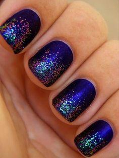 ombré mat blue and silver glitter