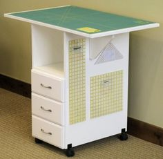 Amazon.com - Sewingrite Cutting Craft Desk Utility Table With 3 Storage Drawers, Drop Leaf White - Portable Tables