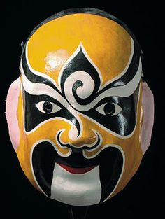 Classic Chinese opera mask, paper mache. Based on a tradition for warriors to scare the enemy