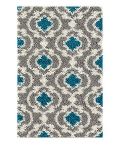 This Gray & Turquoise Moroccan Trellis Shag Rug is perfect! #zulilyfinds