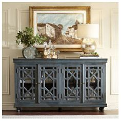 Love the painted cabinet with the décor and painting combo~sm