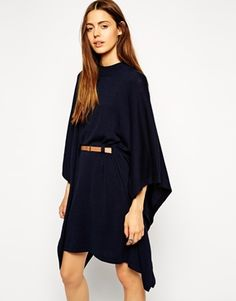 Ooh, this dress, need. {ASOS Knitted Dress in Belted Cape Shape - under $100}