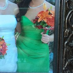 Alfred Angelo green bridesmaid dress Kelly green bridesmaid dress by Alfred Angelo. Short style with corset back - lacing strap included. I had the dress altered to include padded bra inserts. They could be removed with a seam ripper if it's something you don't want. Size 4 (street size 2). Alfred Angelo Dresses Wedding