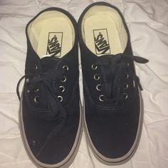 Vans sneakers Brand new never been worn a dark grey color selling for 50 but could possibly go lower make any offer you'd like! I don't trade Vans Shoes Sneakers