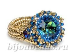 free tutorial Ring with Swarovski crystals and beads