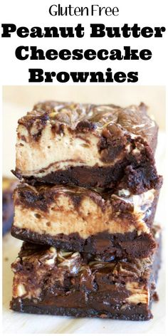 These easy gluten free Double Chocolate Cheesecake Peanut Butter Brownies are lo., These easy gluten free Double Chocolate Cheesecake Peanut Butter Brownies are loaded with dark chocolate flavor, creamy cheesecake and rich peanut but. Brownie Sans Gluten, Cookies Sans Gluten, Dessert Sans Gluten, Low Carb Dessert, Gluten Free Sweets, Gluten Free Baking, Gluten Free Recipes, Chocolate Gluten Free Desserts, Gluten Free Deserts Easy