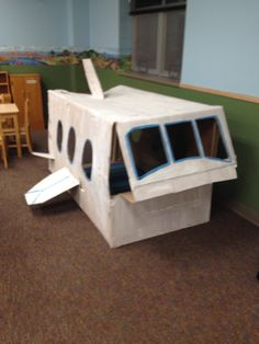Well doing a thematic unit on cities I made this airplane out of a free refrigerator box from Home Depot. My preschoolers loved it and it was super easy to make.