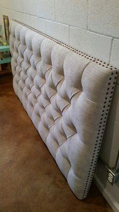 King sized headboard tufted upholstered velvet fabric nailhead trim custom wall mounted