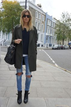 Ripped jeans, crew neck sweater + peacoat