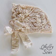 Melly Sews: Lace Knit Baby Bonnet - Free pattern