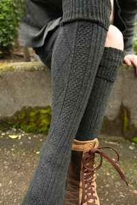 Diamond Rib Knee Socks - Great for men and women - these make a fantastic kilt sock and are super-cute with sock garters (which will help them stay up).  They can be worn comfortably at the knees, including a nice cuff.  Shorter legs might even be able to wear them over the knees.  Made in the USA.