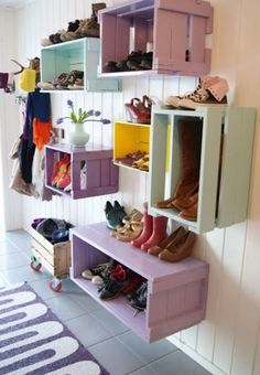 Wall Shoe Shelves - fancy and decorative. See more via homelysmart.com