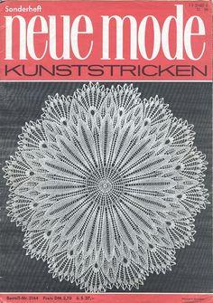 "Photo from album ""Neue Mode 3164 on Yandex. Crochet Book Cover, Crochet Books, Crochet Home, Crochet Doilies, Lace Knitting Patterns, Lace Patterns, Knitting Stitches, Knitting Needles, Knitting Magazine"