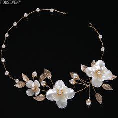 43cm White Flower Design Pearl Headbands for Women Wedding Hair Jewelry 2017 New Fashion Bride Headpiece Hair Accessories