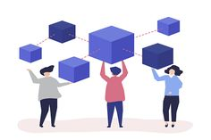 Characters of people holding a blockchain network illustration Free Vector Illustration, Free Illustrations, Blockchain, Content Delivery Network, Fourth Industrial Revolution, Purple Balloons, Blue Building, Vector Can, Creating A Blog