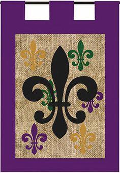 MARDI GRAS Burlap FLEUR DE LIS Evergreen Decorative Garden Flag
