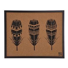 Living & Co Natural Wonder Cork Art Tri Feather 40cm x 50cm