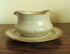 The Classics by Hearthside STONEWARE Gravy Bowl AND Saucer Tan Speckled 5.50