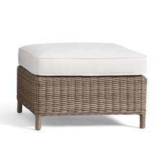 Torrey All-Weather Wicker Ottoman - Natural | Pottery Barn