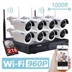 435.49$  Watch here - http://aliahn.worldwells.pw/go.php?t=32639631484 - ZOSI 8ch 960p Wifi NVR 2TB HDD with 8 pcs Waterproof IR Bullet Wireless IP HD Camera/Wireless CCTV system kit 435.49$