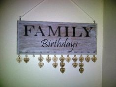 Family Birthday Board Idea
