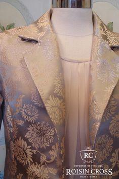 Handmade silk brocade dress jacket made at Roisin Cross Silks Dublin Brocade Dresses, Silk Brocade, Groom Dress, Design Consultant, Jacket Dress, Dressmaking, Dublin, Mother Of The Bride, Kimono Top