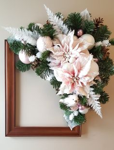 Holiday picture frame wreath by marlas. Christmas Door, Christmas And New Year, All Things Christmas, Christmas Holidays, Christmas Crafts, Christmas Decorations, Holiday Decor, Christmas Flower Arrangements, Artificial Flower Arrangements