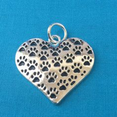 Multiple Black Paw Print Charm Sterling Heart Shaped