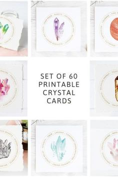 Set Of 60 Printable Crystal Meaning Cards – Gemstone Card Labels – Jewelry Display Cards – Chakra Stone Kit Inserts – Packaging Inserts Diy Crystals, Crystals And Gemstones, Healing Crystals, Chakra Healing, Healing Stones, Templates Printable Free, Printable Cards, Printables, Jewellery Storage