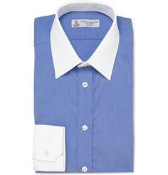 blue button-up white collar